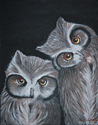 Clifton Painting Posters - Owls Poster by Sandy Clifton