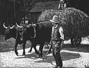 Oxen Prints - Ox-Driven Haycart Print by Robert Goudreau