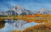 Wyoming Paintings - Oxbow Bend in the Grand Tetons by Sharon Farber