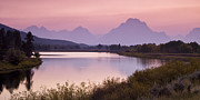 Pink Sunset Posters - Oxbow Bend Sunset Poster by Andrew Soundarajan