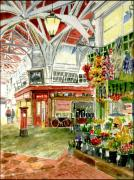 Coffee Shop Painting Posters - Oxfords Covered Market Poster by Mike Lester
