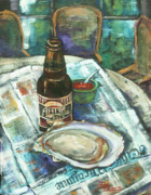 New Orleans Oil Painting Metal Prints - Oyster and Amber Metal Print by Dianne Parks