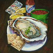 Louisiana Seafood Paintings - Oyster and Crystal by Dianne Parks
