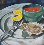 Kristine Kainer Paintings - Oyster Appetizer by Kristine Kainer