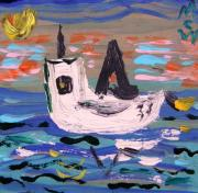 Sun Print Drawings Prints - Oyster Boat at Evening Print by Mary Carol Williams