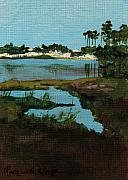 Florida Panhandle Painting Posters - Oyster Lake Poster by Racquel Morgan