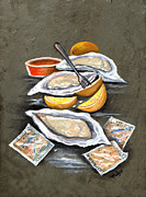 Slate Paintings - Oysters and Crackers by Elaine Hodges