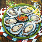 Still Life Tapestries Textiles Prints - Oysters on the Half Shell Print by Dianne Parks