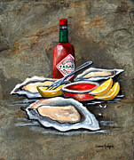 Lemon Painting Posters - Oysters on the Half Shell Poster by Elaine Hodges