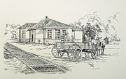 Wheel Drawings - Ozark Depot by Charles Sims
