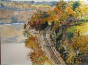 Train Tracks Painting Framed Prints - Ozark Fall Framed Print by Sharon  Gonzalez