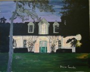 Arkansas Paintings - Ozark House at Dusk by Sharon  Gonzalez