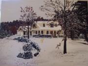 Rudolph Painting Prints - Ozark House Christmas Snow Print by Sharon  Gonzalez