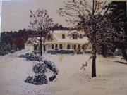 Ozark House Christmas Snow Print by Sharon  De Vore
