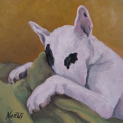 English Bull Terrier Framed Prints - Ozzi Framed Print by Jindra Noewi