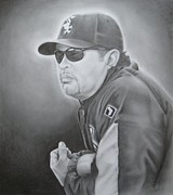 World Series Drawings Prints - Ozzie Guillen Print by Brian Schuster