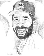 000 Individual Dots. I Use Mainly Pen And Ink And Graphite In My Renderings. I Also Do Commissioned Art That Includes Buildings Prints - Ozzie Smith Print by Marty Rice
