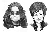 Pencil Portraits Drawings Posters - Ozzy and Sharon Osbourne Poster by Murphy Elliott