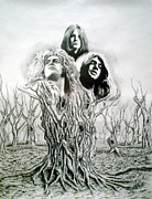 Led Zeppelin Drawings Originals - Ozzy-Gillan-Plant by Hector Monroy