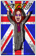 British Invasion Framed Prints - Ozzy Osbourne Framed Print by John Goldacker