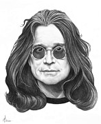 Famous People Drawings - Ozzy Osbourne by Murphy Elliott