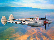 Bong Metal Prints - P-38 Lightning Metal Print by Dale Jackson