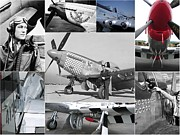 Dog Fights Prints - P-51 Mustang Fighter Collage Print by Don Struke
