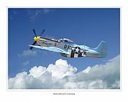 Airplane Artwork Posters - P-51 Mustang Poster by Larry McManus