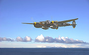 Military Aviation Posters - P38 - Long Way Home Poster by Pat Speirs