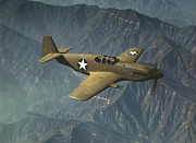 North American P51 Mustang Photo Posters - P51 Mustang in Flight Poster by Padre Art