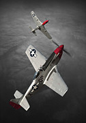 North American P51 Mustang Digital Art Posters - P51 Mustang Pair Poster by Anton Nel