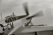 Fighter Plane Photos - P51 Mustang Takeoff Ready by M K  Miller
