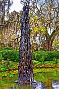 Live Oaks Digital Art Framed Prints - Pablo Casals Oblisk painted Framed Print by Steve Harrington