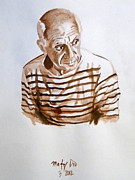 Pablo Picasso Prints - Pablo in Stripes Print by Maty Dio