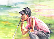 Pablo Drawings Posters - Pablo Larrazabal winning The BMW Open in Germany in 2011 Poster by Miki De Goodaboom