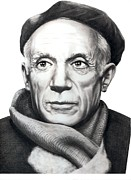 Famous People Drawings - Pablo Picasso by Murphy Elliott