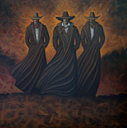 Cowboys  Painting Originals - Pac Of Three by Lance Headlee