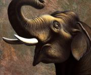 India Painting Metal Prints - Pachyderm 1 Metal Print by Jerry LoFaro