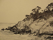 Sea Shore Drawings Prints - Pacific Coast Print by Daniel Masterson