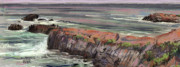 Seascape Drawings Originals - Pacific Coastal Panorama by Donald Maier