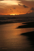 Surf Silhouette Prints - Pacific Coastal Sunset Costa Rica Print by Michelle Wiarda