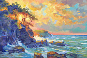 Beach Scenery Painting Prints - Pacific Dawn Print by David Lloyd Glover