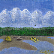 Camping Paintings - Pacific Northwest Camping by Carol  Eliassen