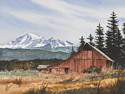 Barn Print Framed Prints - Pacific Northwest Landscape Framed Print by James Williamson