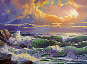 Beach Sunsets Posters - Pacific Sunset Sonata Poster by David Lloyd Glover
