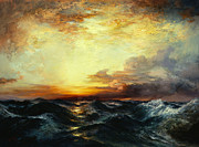 Dramatic Sky Sun Rays Paintings - Pacific Sunset by Thomas Moran
