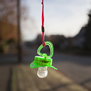 Pacifier Posters - Pacifier Hanging From a Cord Outdoors Poster by Paul Edmondson