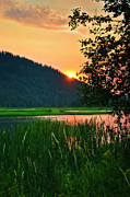Lake Pend Oreille Posters - Pack River Delta Sunset 2 Poster by Albert Seger