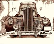 Antique Automobiles Drawings Posters - Packard Poster by Gary Galarza