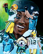 Michael Vick Paintings - Packers  Glorious Moments by Dawn Graham